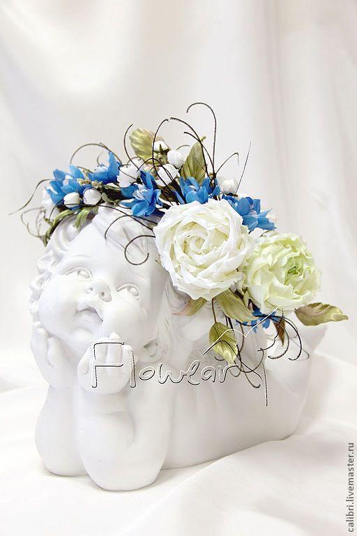 """Венок на голову """"БЕЛЫЕ РОСЫ"""" - цветы из шелка. - белый,белые розы,венок с…"""