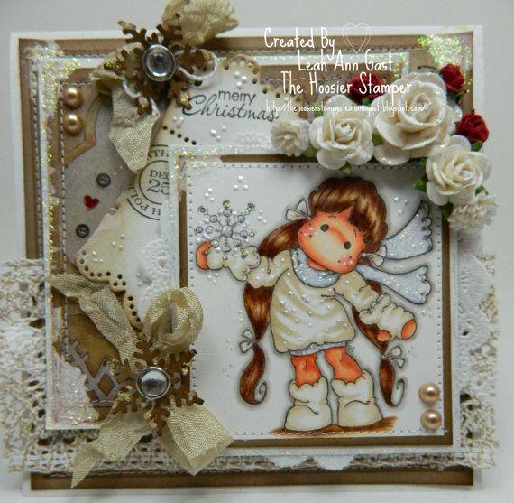 Magnolia's Snowy Tilda OOAK Christmas Card by thehoosierstamper, $10.95