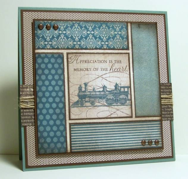 By Miss Minx at SplitCoastStampers. I like the layout: stamped image in the center and designer paper strips on the outside. I also like the blue and brown color combination & all of the layers.
