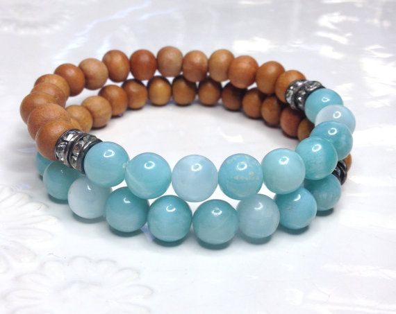 Larimar Stretch Bracelet Premium Sandalwood Beads by LoveandLulu, $52.00