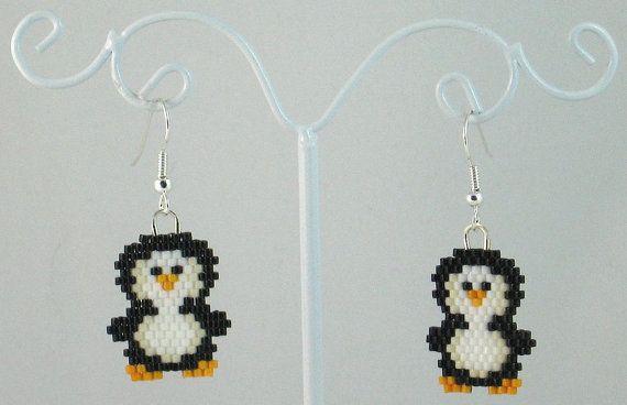 Beaded Penguin Earrings by LazyRose on Etsy