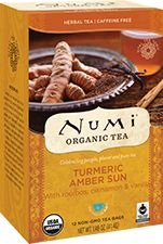 This stuff is yummy - It might even be good enough to replace my A.M. coffee!  Numi Organic Tea Amber Sun | A smooth richness radiates through Amber Sun Turmeric Tea like a warm, healthy glow. Blended entirely with real organic ingredients, this herbal teasan combines turmeric, rooibos, vanilla beans and a hint of cinnamon, offering mellow apple notes with a sweet peppery zest.