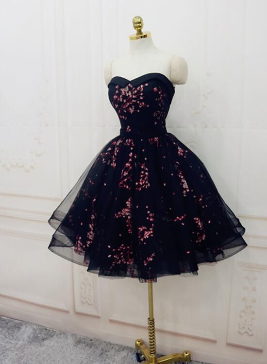 Charming Black Cute Floral Formal Dresses, Black Party Dress, Homecoming Dresses 2018