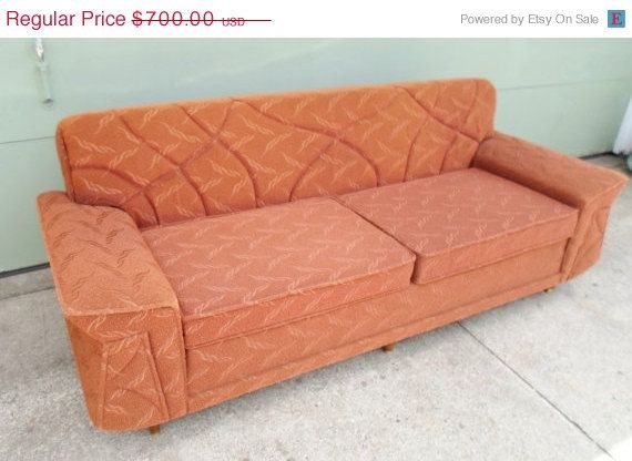 Retro Orange Vinyl Sofa Vintage 1960's Orange Sofa, Couch, Davenport, Mid Century