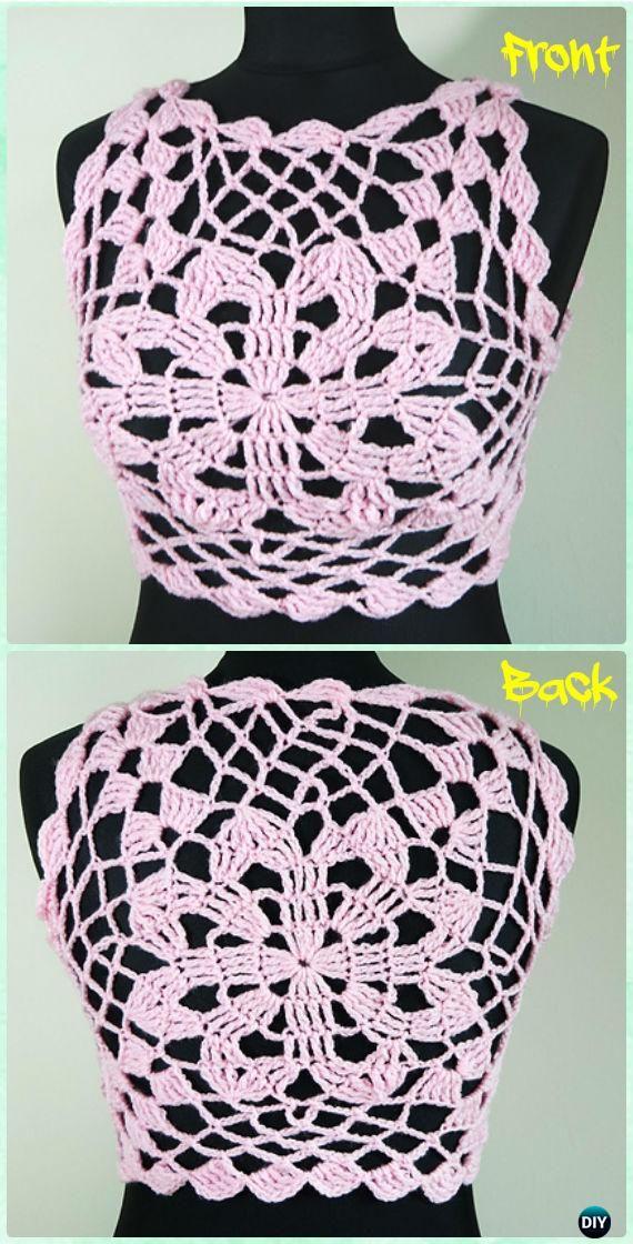 Crochet Pink Flower Halter Crop Top Free Pattern - Crochet Women Crop Top Free Patterns