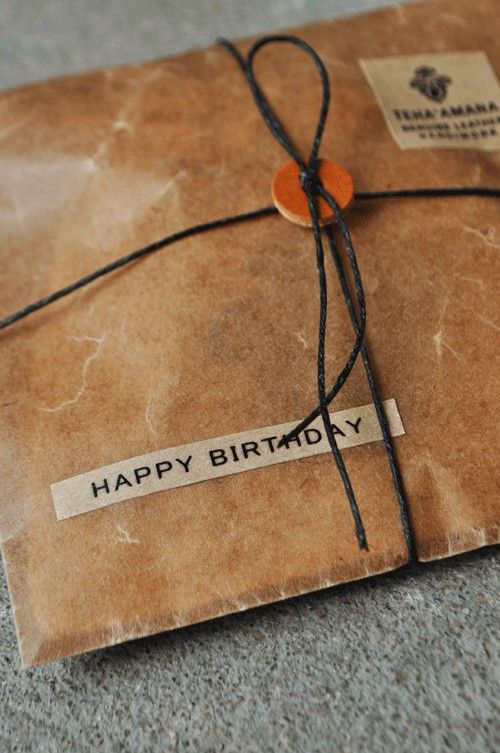 birthday gift - the paper has a great waxed feel - looks great with the leather washer.  An old leather button would look cool too.: Ideas, Happy Birthday, Gift Wrapping, Button, Packaging, Brown Paper Packages, Birthday Package, Birthday Gifts