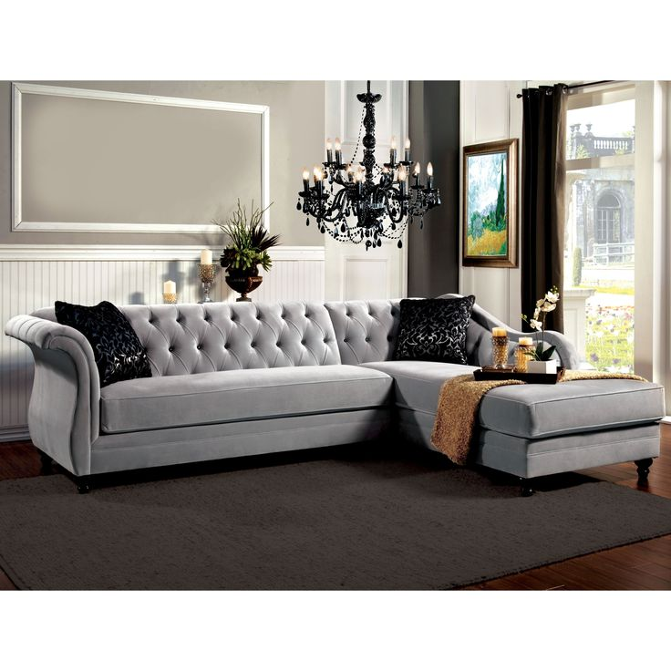 Furniture of America Elegant Aristocrat Tufted Grey Sectional - Overstock Shopping - Big Discounts on Furniture of America Sectional Sofas