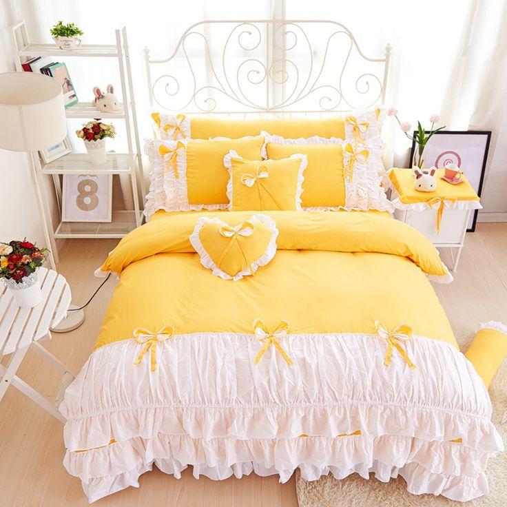 3 4pcs Cotton Princess Bedding Set Lace Edge Patchwork Duvet Cover