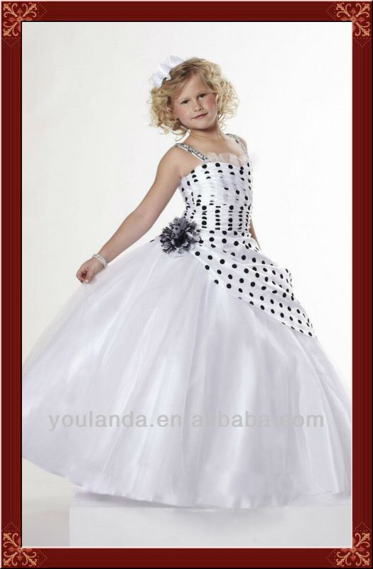 Lovely White And Black Dot Hot Sale Girls Pageant Dress For 10 Year Old