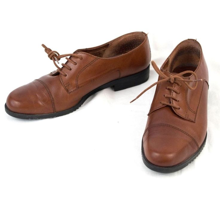 Brown Leather Shoes 9.5 M Cap Toe Missy Oxford Made in Brazil Hunt Club  #HuntClub #Oxfords #WeartoWork