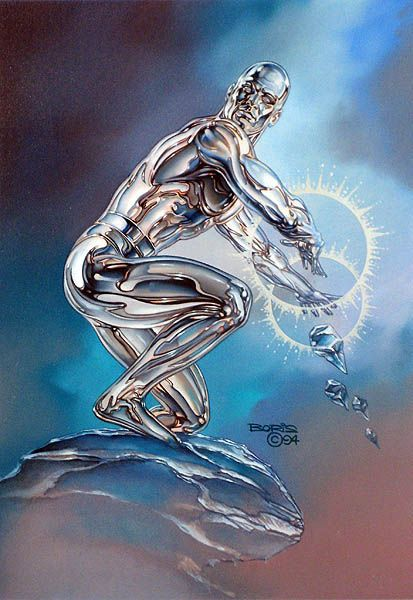 Iceman/Bobby Drake founding member of the X-Men by BORIS VALLEJO  Maybe it is just me but this looks more like Silver Surfer than Iceman.