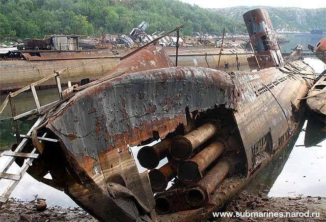 Abandoned submarines at the Soviet submarine graveyard in Nezametnaya Cove, near Olenya Bay naval base on the Kola Peninsula.