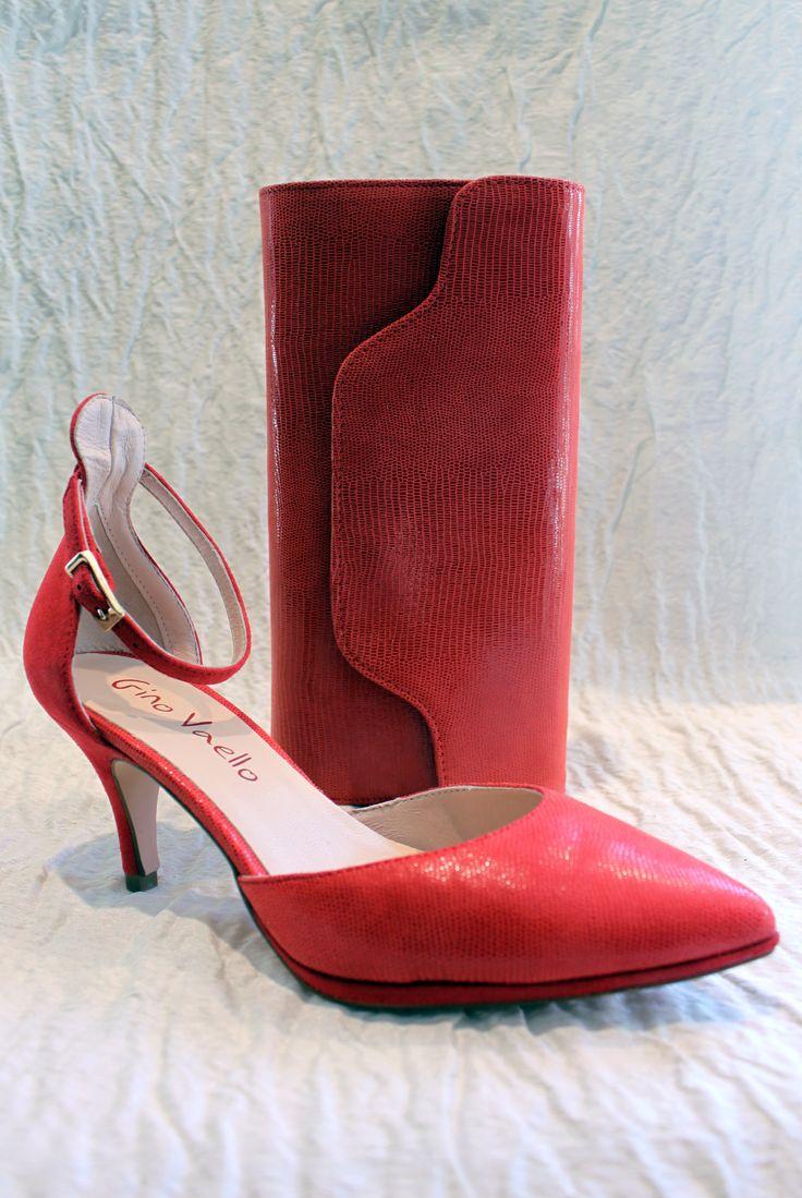 Gino Vaellon korallin väriset kengät ja laukku - by Marja