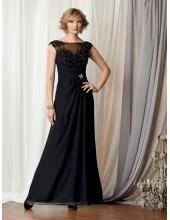 Kolumne Schöne Schwarze Abendkleider aus Chiffon Caterina