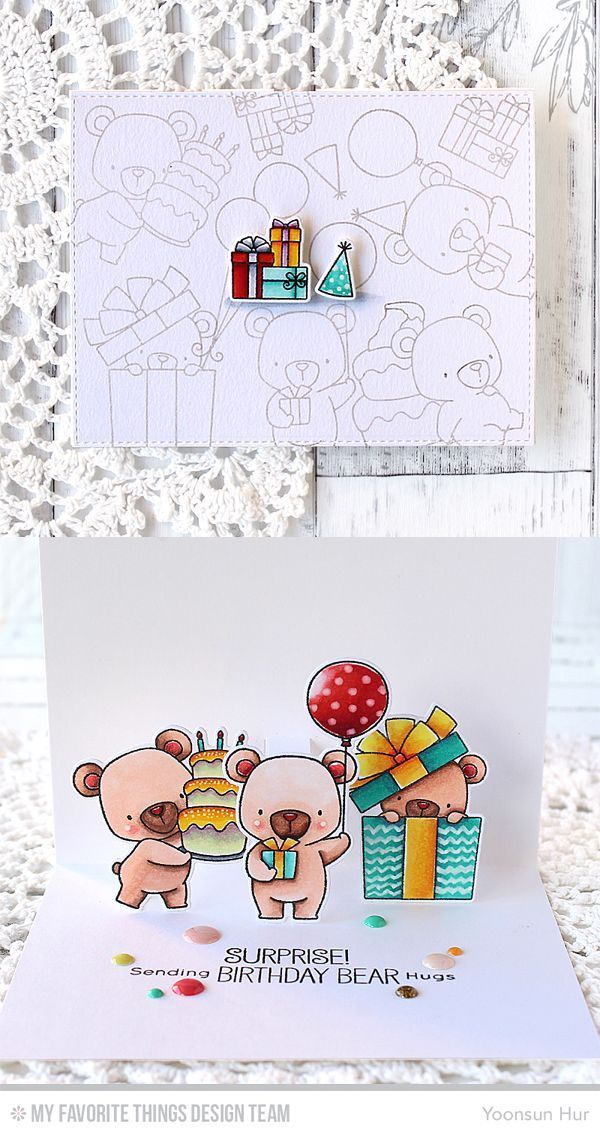 RejoicingCrafts: MFT July Release Countdown Day 4. Pop-up birthday card with the MFT Beary Special Birthday stamp set & Die-namics. Pop-Up Elements Narrow Die-namics. #mftstamps #popupcard #birthday #card