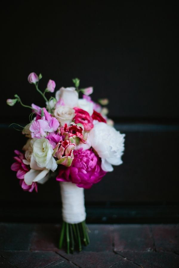 white purple pink bouquets