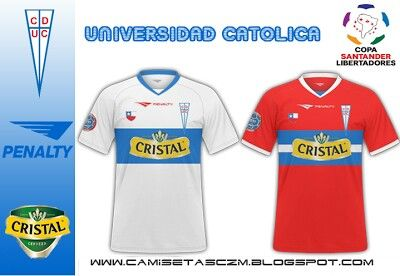 Universidad Catolica of Chile home and away shirts for 2010.