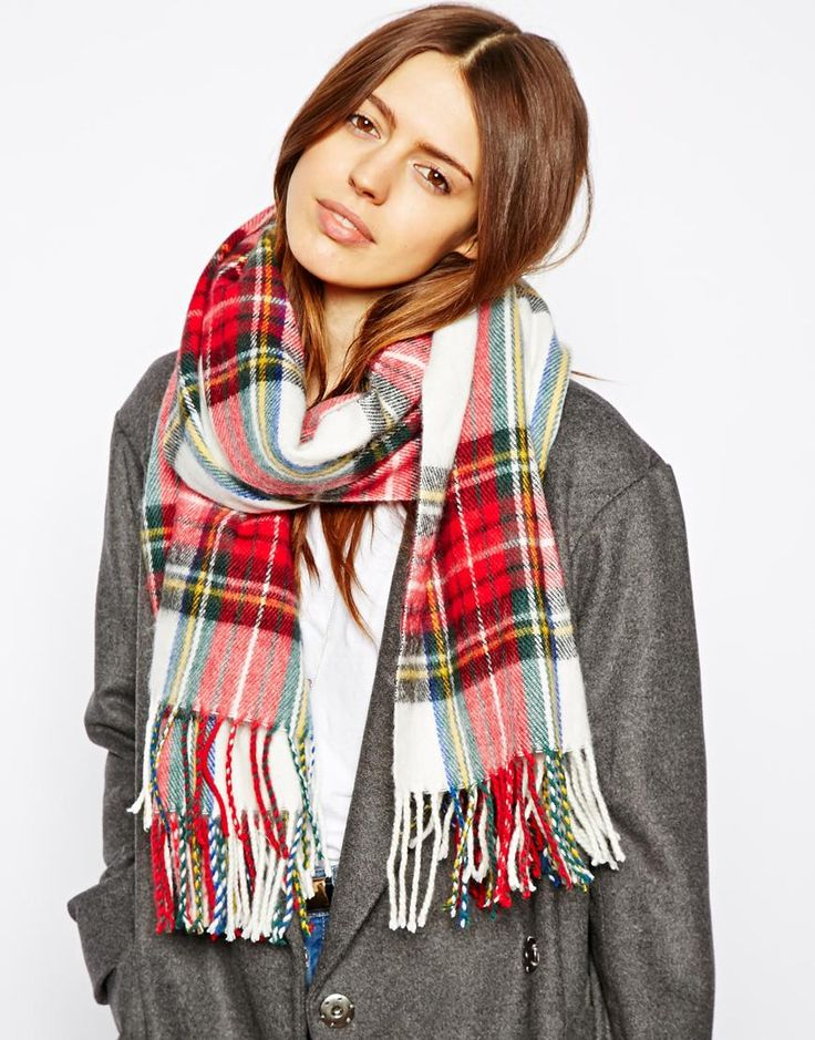$33, Red and White Plaid Scarf: Plaid Check Scarf by Asos. Sold by Asos. Click for more info: http://lookastic.com/women/shop_items/118431/redirect