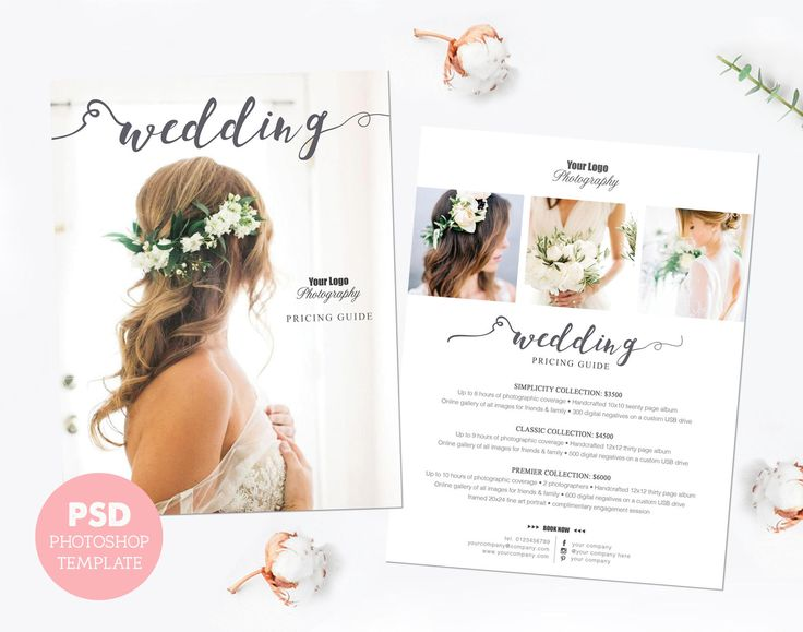 Pricing template. Wedding photography price list. Marketing & advertising template pricing guide. Fully editable Photoshop PSD files. PLT007 by PenguinGraphics on Etsy
