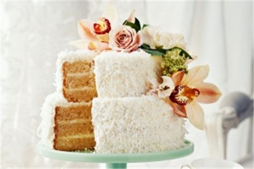 Two tiered coconut cake