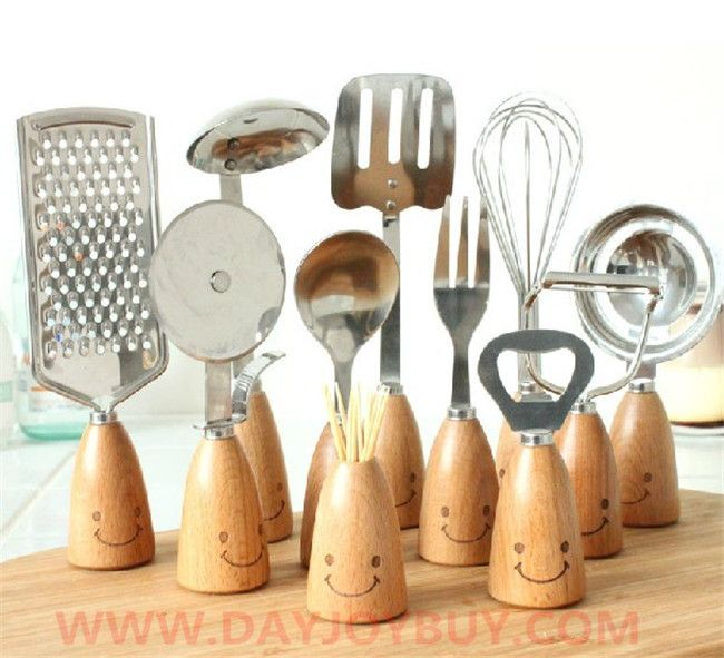 Smile Style Wooden Kitchen Tools Combination Kit 12PCS Gift Set Amazing  Design Smile Style Wooden Kitchen