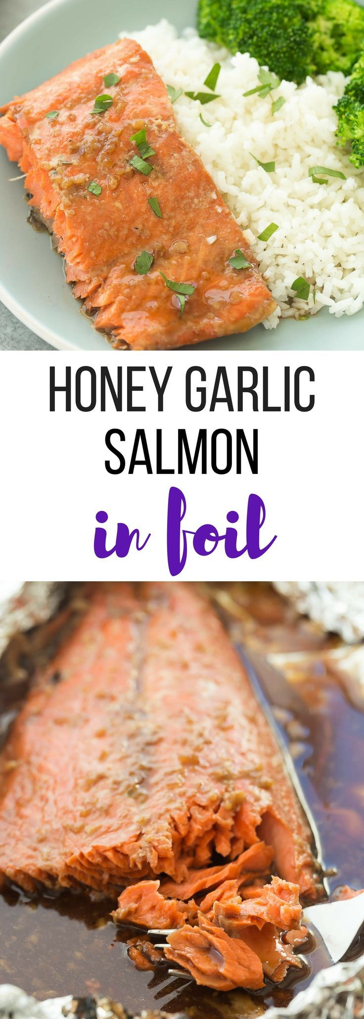 This Honey Garlic Salmon in Foil can be made in the oven or on the grill -- with just 5 ingredients and no dirty pans! It has a made from scratch honey garlic sauce that's also great on chicken, pork or beef. Includes how to recipe video.   seafood   fish   healthy   low calorie   diet