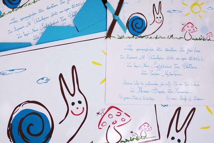 Cute snail under mushroom drawing on handwritten baptism invitation