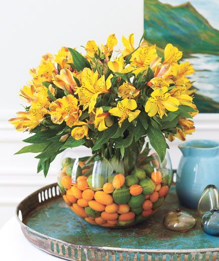 Fruit Fillers    This tone-on-tone assemblage starts with miniature citrus fruits (key limes, kumquats) and Peruvian lilies bursting with color.