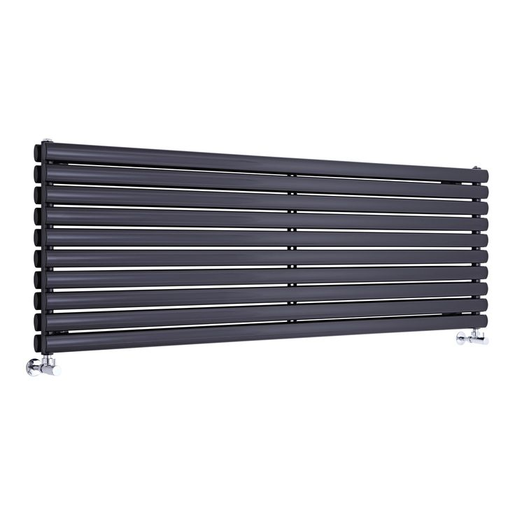 Milano Aruba - Black Horizontal Designer Radiator 590mm x 1780mm (Double Panel)