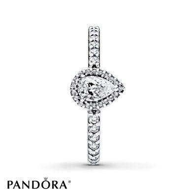 A delicate yet striking teardrop design graces this sterling silver ring from the PANDORA Autumn 2017 collection. The perfectly balanced sparkle and elegant facets reshape vintage style and enrich all looks. Additional sizes may be available through special order at your nearest Jared location. Style # 196254CZ-54.