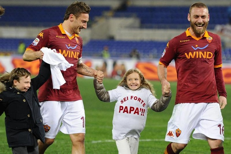as roma / Francesco Totti with his Children Channel & Cristian / Daniele De Rossi The DDR