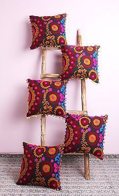 "5 Pcs All India Design Suzani Embroidered Cushion Cover 16x16"" Home Decorative Pillow Cover Case Sofa Decor Boho Bohemian designer cushion by ArtofPinkcity on Etsy"