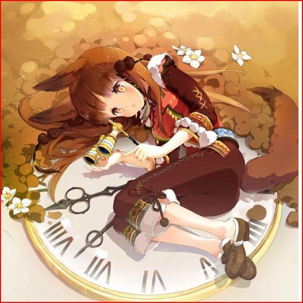 fille girl clock horloge renard fox fall autumn automne ...