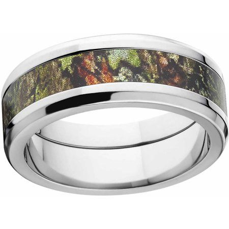 Mossy Oak Obsession Men's Camo 8mm Stainless Steel Wedding Band with Polished Edges and Deluxe Comfort Fit, Size: 11