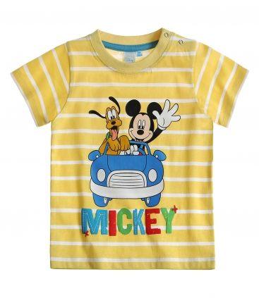 Tricou bebe galben in dungi cu Mickey