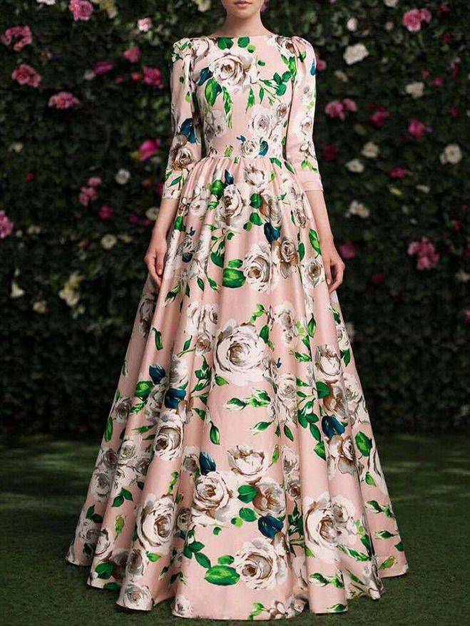 Flowers Print Maxi Pink Dress 21.52