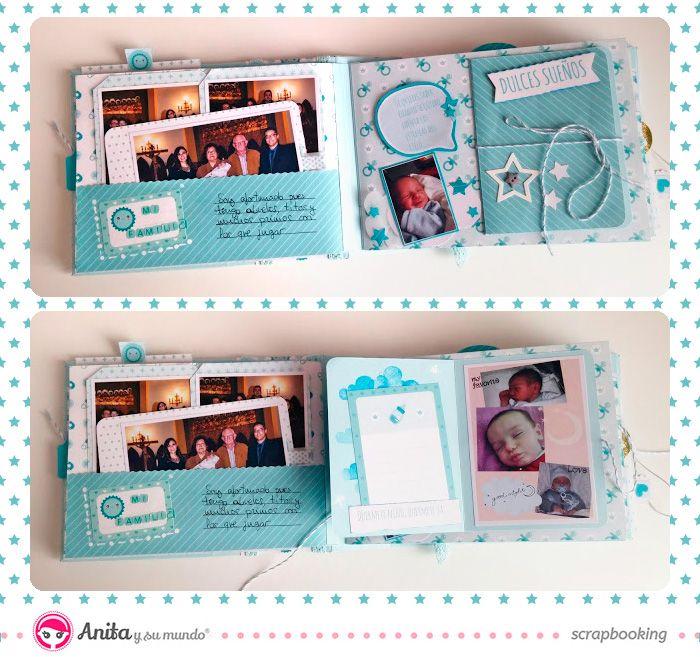 Minialbum para bebe hecho con papeles de scrapbooking de - Como hacer un album de fotos a mano para ninos ...