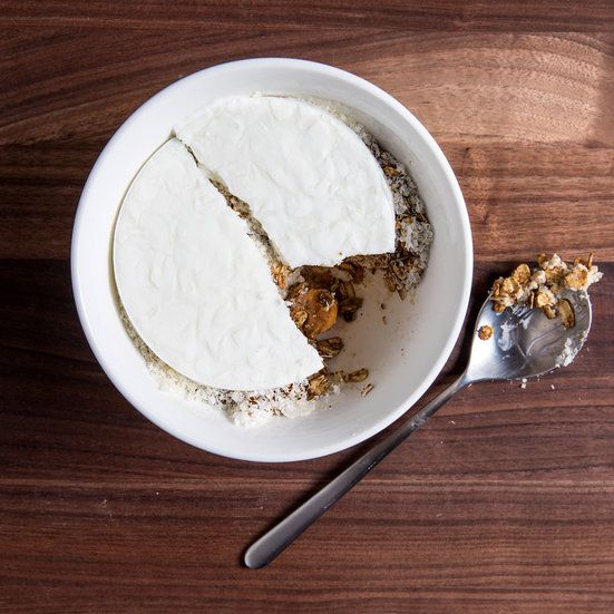 This complex breakfast dish combines overnight oats with muesli and icy frozen skyr. Get the recipe at Food & Wine.