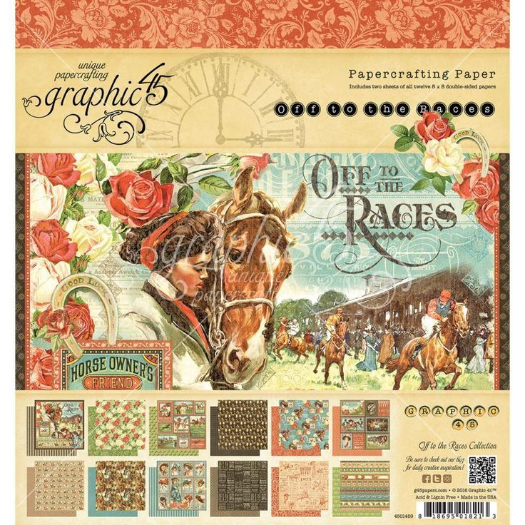 Graphic 45 Off to the Races Designer 8 x8  Paper Pad 36 sheets 4501459