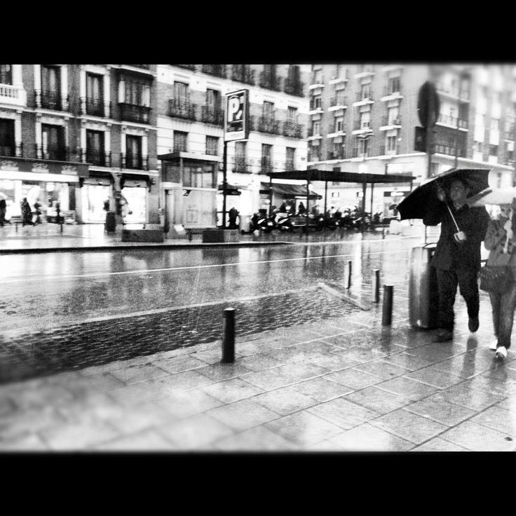 rain, Madrid.