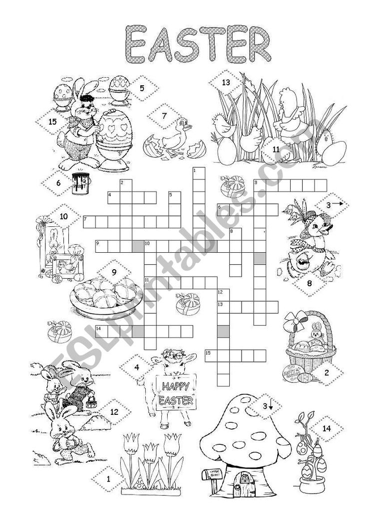 Easter crossword with some information about Easter