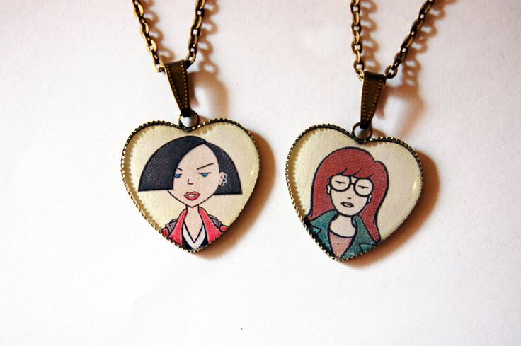 Daria Morgendorffer and Jane Lane - Set of 2 Handmade Vintage Cameo Pendant Necklaces - Best Friends Jewelry.