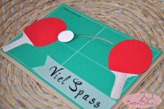 Stampin Up beim ZettelZirkus: Gutschein zum Geburtstag, besonderer Auftrag, Kullerkarte, Tischtennis, Tischtenniskarte,