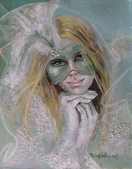 Masked emotions by dorina costras  Acrylic on canvas  35/45 cm  Original signed by Dorina Costras