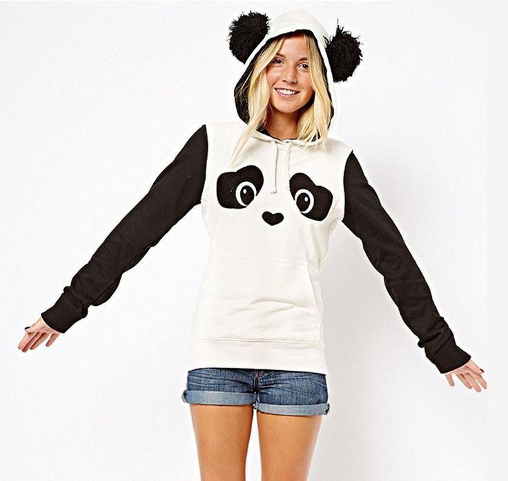 Ciepłe kobiety bluzy z kapturem bluza ciepły hots moletom feminino sudaderas mujer femme potu panda stiching z kapturem bluzy