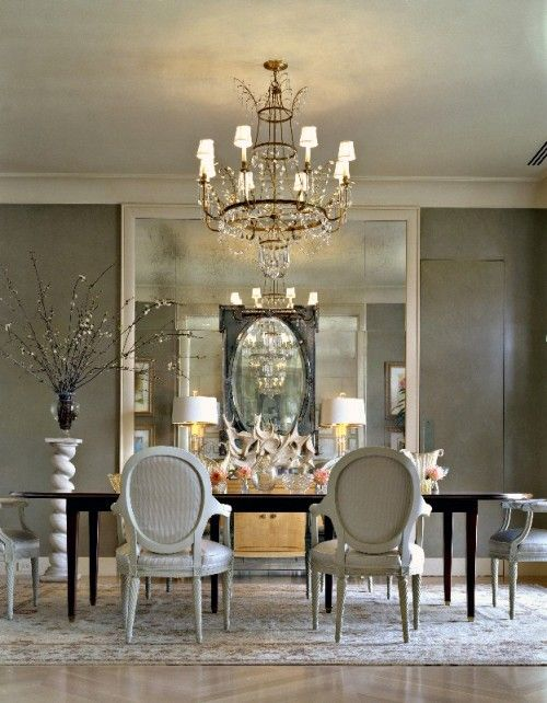 Silver White Dining Room Elegant Exceptional Design Gray Walls Mirrors Chandelier Black Accents Decorating Home Decor Ideas Renovating Living Rooms