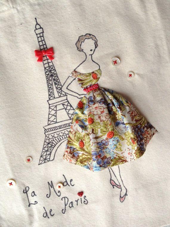 París 1950 Retro romántico bolso de moda por PetiteSourisStudio