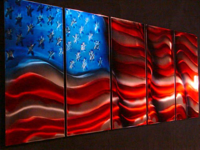 American flag jason enger thee iron artist metal art for Painted american flag wall art