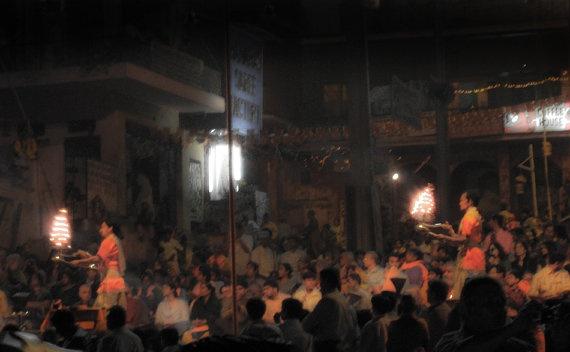 Ganga Aarti Varanasi India 8X10 Photograph chamelagiri.etsy.com