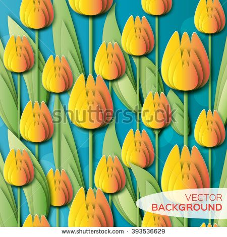 Abstract Yellow Floral background - With Bunch of Spring Tulips. Paper cut flower holiday background. Applique Beautiful bouquet. Trendy Design Template. Vector illustration.